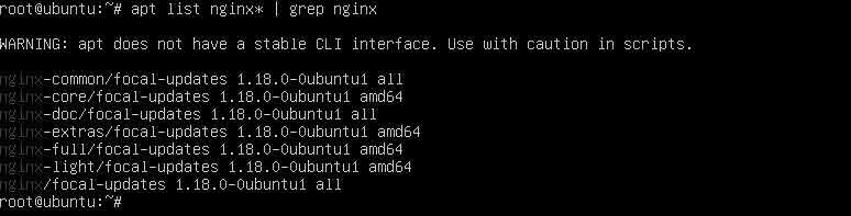 lệnh kiểm tra gói cài đặt nginx mặc định